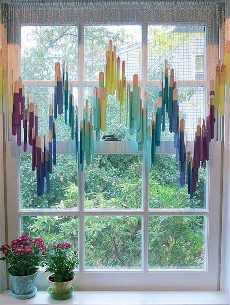 cute window treatment   craft sticks home decor
