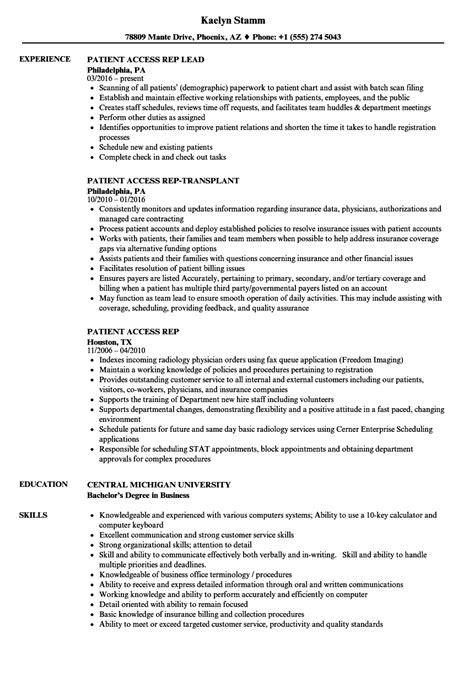 Patient Access Representative Resume by Patient Access Rep Resume Sles Velvet