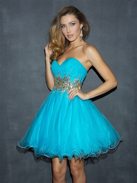 Night Moves Sweetheart Blue Organza Beading Sequined Short