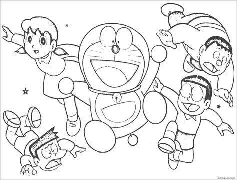 cheerful doraemon   friends coloring page