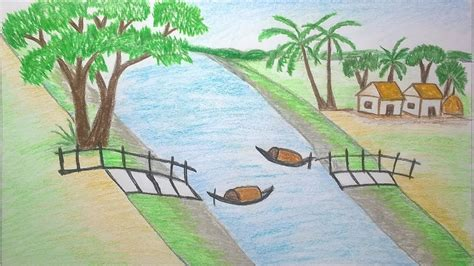 Village Boat Drawing by How To Draw Scenery Of River Crossing Place By Boat Step