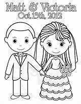 Groom Bride Coloring Printable Personalized Colouring Clipart Activity Getdrawings Getcolorings Pdf Library Favor Colorings Visit Popular sketch template