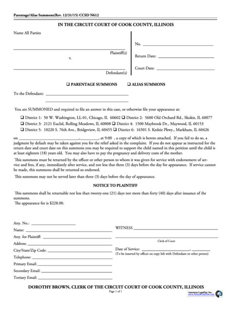 cook county clerk form printable pdf download