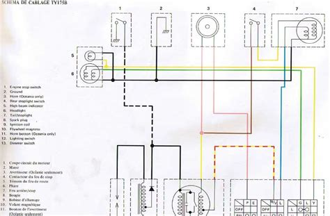 Wiring Diagram Yamaha Xt225 by My Motorcycle Restoration Diary Notes Ty175 Wiring Diagram