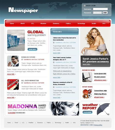 news website templates news portal website template 20061