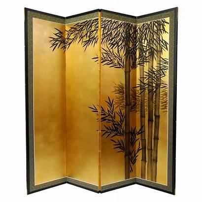 Bamboo Divider Oriental Panel Gold Furniture Leaf