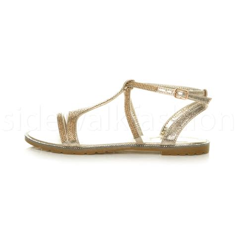 womens ladies flat embellished diamante sparkly strappy