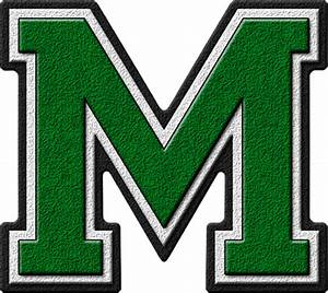 presentation alphabets green varsity letter m With high school varsity letters