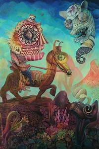 A trippy mixed media surrealist painting by David Ball of