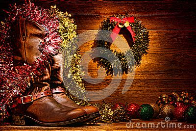 american west rodeo cowboy boots christmas card royalty