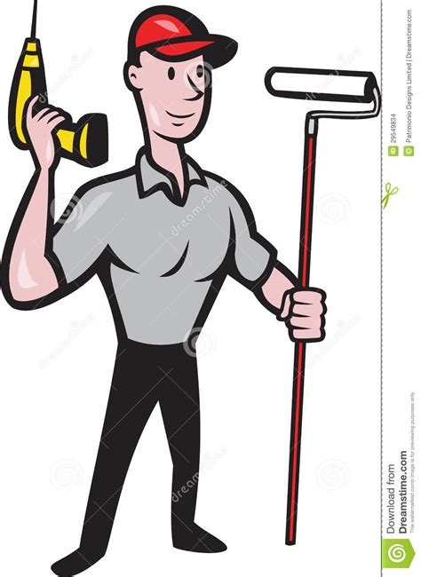House Painter Painting Cartoon Clip Art