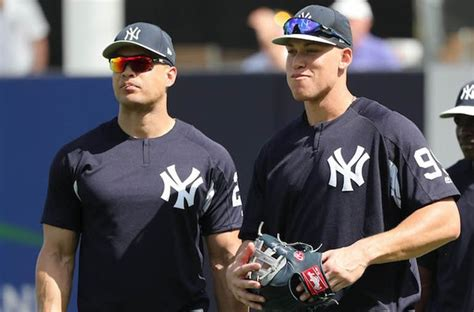 aaron judge uniform can aaron judge or giancarlo stanton be 1st base option