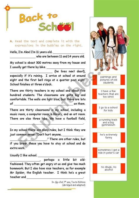 quot back to school quot reading comprehension for intermediate