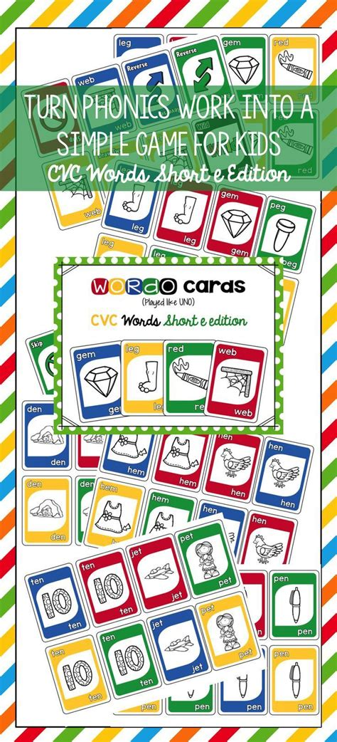 cvc short  card game  images cvc words phonics