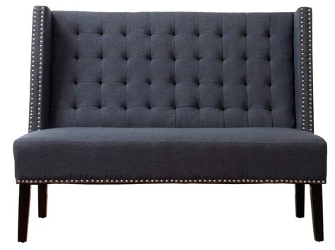 Halifax Grey Linen Banquette Bench From Tov (tov-63114