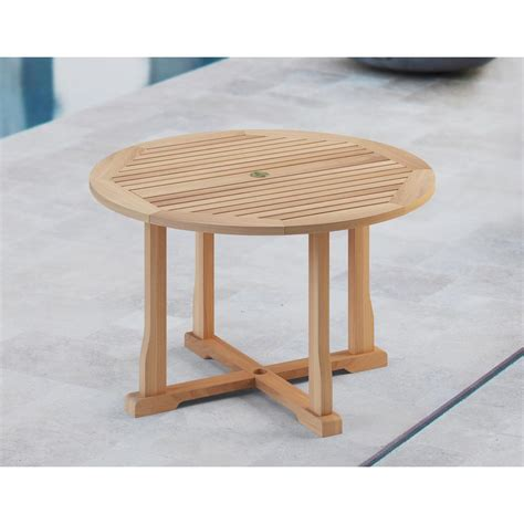natural teak outdoor dining table  umbrella insert