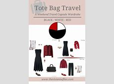 A weekend travel capsule wardrobe in black, white, and red