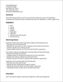 resume for child professional child care provider templates to showcase your talent myperfectresume