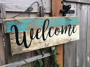 Welcome, Wood, Sign, U2013, Abreezycreation