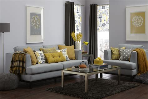 gray sectional sofas  yellow cuhsion  yellow fabric