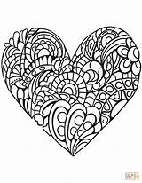 Coloring Heart Pages Zentangle Printable Paper Drawing Puzzle Colorings sketch template