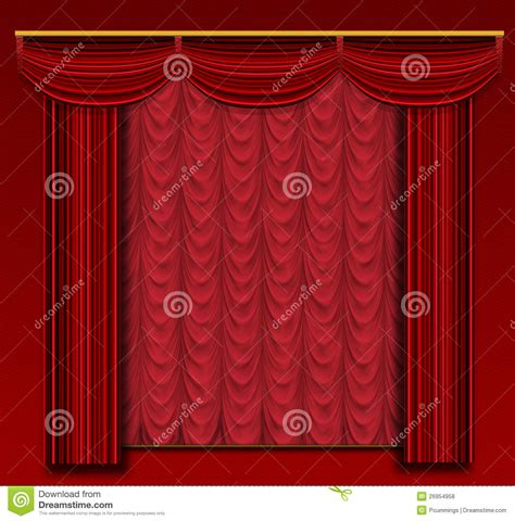 stage curtains with ornate backdrop and wall royalty free