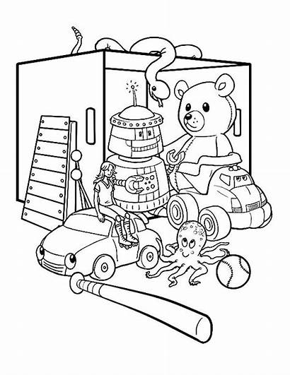 Coloring Toys Box Pages Toy Colouring Sketch