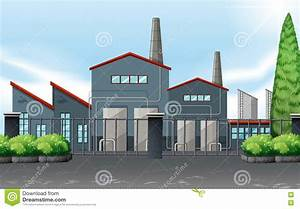 Factory Building Behind The Metal Fence Cartoon Vector ...
