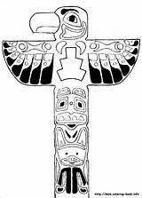 Coloring Yakari Totem Pole Native American sketch template