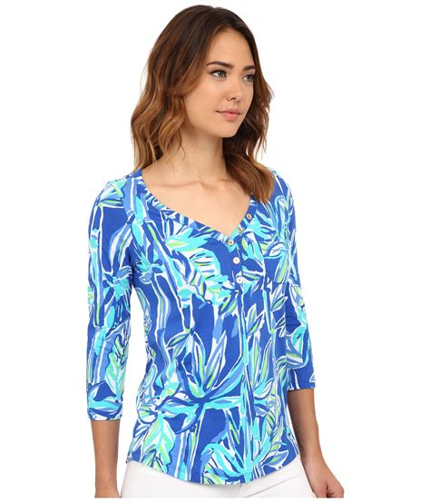 lilly pulitzer blouse lilly pulitzer skipper popover top in blue lyst