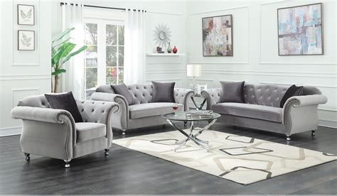 frostine silver soft velvet fabric sofa set  coaster