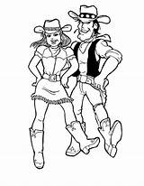 Coloring Dance Cowgirl Step Doing Ten sketch template
