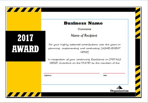 Tke Award Certifricate Template by Award Certificate Sle Template For Ms Word Document Hub