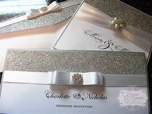 Glitter and silver wedding invitation crystal couture for Silver glitter wedding invitations uk