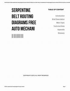 Serpentine Belt Routing Diagrams Free Auto Mechani By