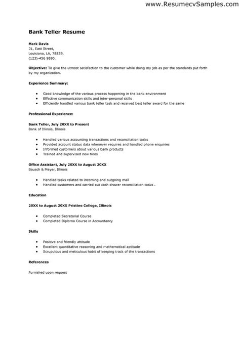 Objective For Teller Position by 10 Bank Teller Resume Objectives Writing Resume Sle