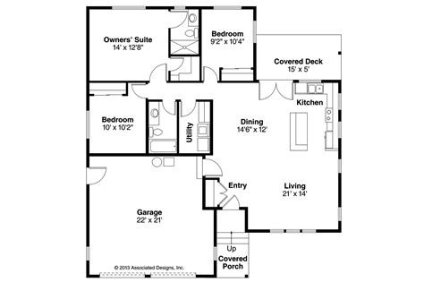 Small Home Floorplans by Ranch House Plans Kenton 10 587 Associated Designs