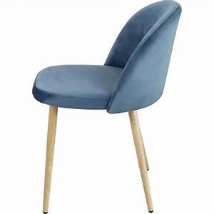 Chaise Velours Bleu : chaise contemporaine en bois et velours bleu lot de 4 mathilde matelpro ~ Teatrodelosmanantiales.com Idées de Décoration