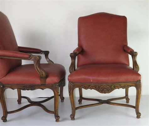 vintage embossed louis xiv style arm chairs for sale