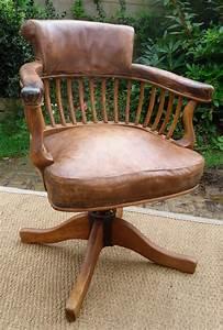 Fauteuil De Bureau Cuir : fauteuil de bureau ancien pivotant bois assise ety dossier cuir ~ Teatrodelosmanantiales.com Idées de Décoration