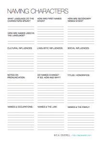 Character Naming Worksheet
