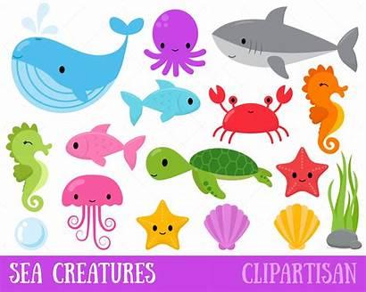 Creatures Clipart Sea Ocean Clip Under Animals