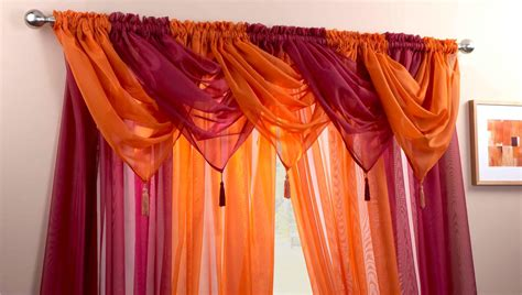 Red & White Voile Swags & Curtain Panels