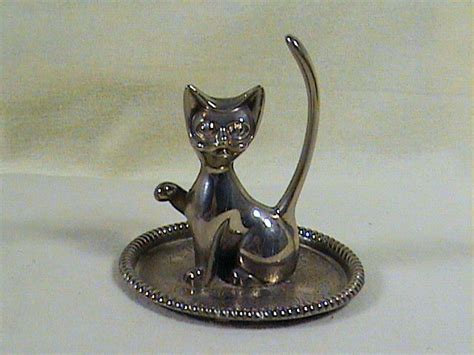 silver plate siamese cat ring holder organizer ebay