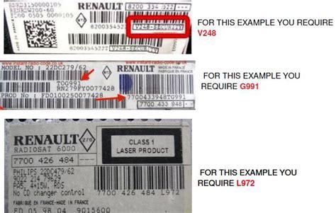 Renault Radio Code, Clio, Megane, Laguna, Espace, Modus