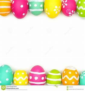 Easter Egg Double Border Over White Stock Photo - Image