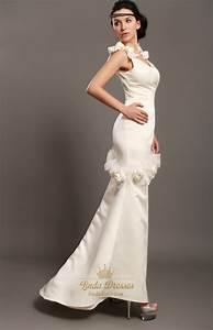 ivory sheath satin v neck wedding dresses with floral With v neck sheath wedding dress