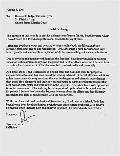 letters judges  sentencing sample character letter