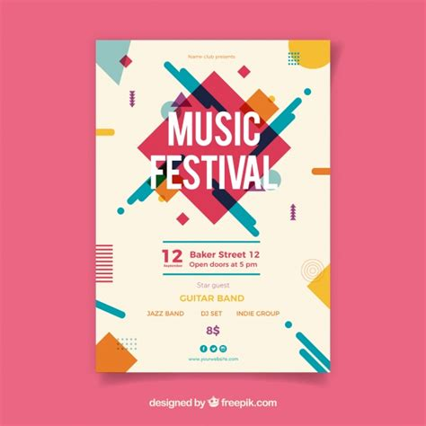Best Sermina Flyer Template Without Background by Music Festival Poster With Instruments In Flat Style
