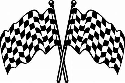 Checkered Flag Waving Flags Crossed Vector Racing